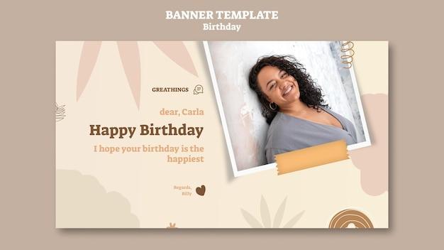 Modelo de banner horizontal para festa de aniversário