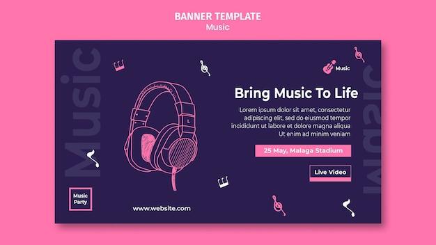 Modelo de banner horizontal para festa de música