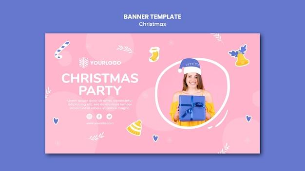Modelo de banner horizontal para festa de natal