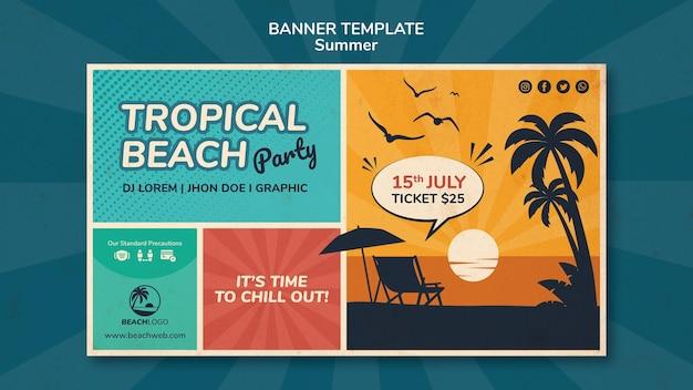 Modelo de banner horizontal para festa de praia tropical