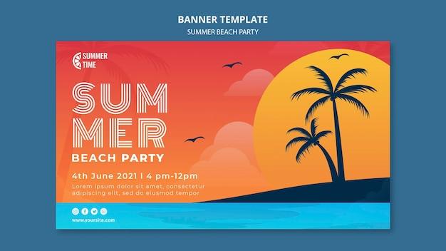 Modelo de banner horizontal para festa de verão na praia