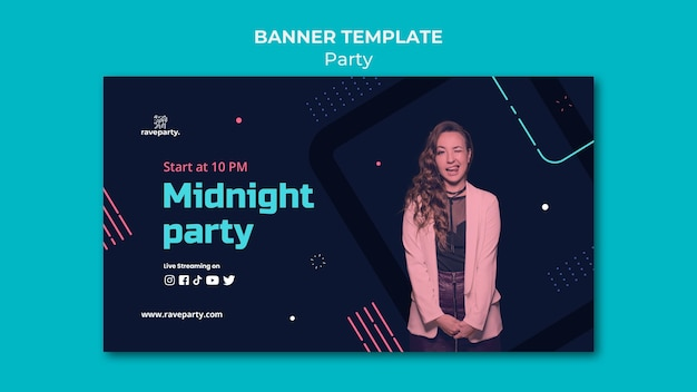 Modelo de banner horizontal para festa online