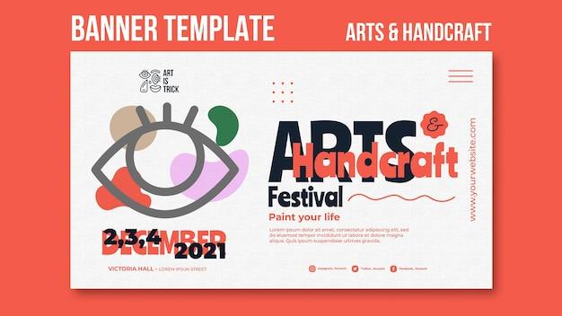 Modelo de banner horizontal para festival de artes e artesanato