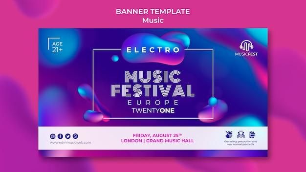 Modelo de banner horizontal para festival de música eletro com formas de efeito líquido neon
