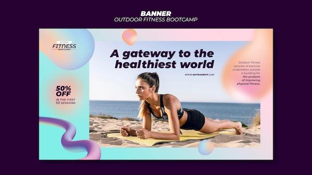 Modelo de banner horizontal para fitness ao ar livre