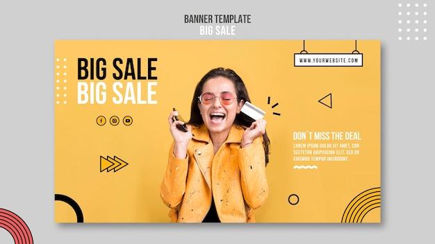 Modelo de banner horizontal para grande venda com mulher