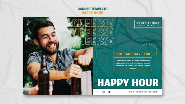 Modelo de banner horizontal para happy hour