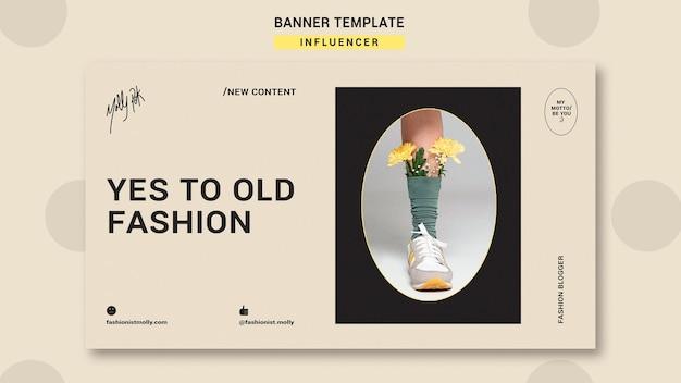 Modelo de banner horizontal para influenciador de moda nas redes sociais