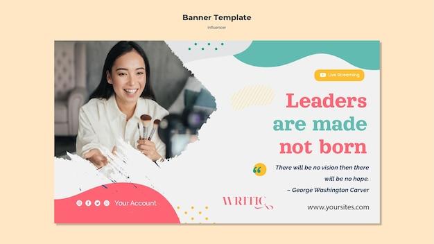 Modelo de banner horizontal para influenciadora feminina de mídia social