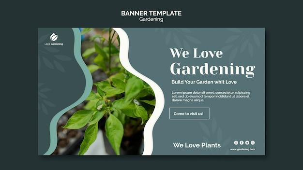 Modelo de banner horizontal para jardinagem