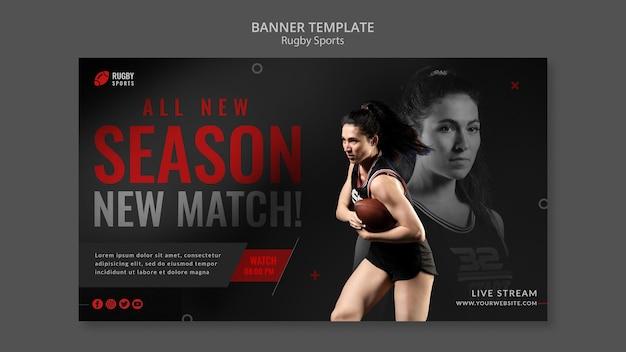 Modelo de banner horizontal para jogar rugby