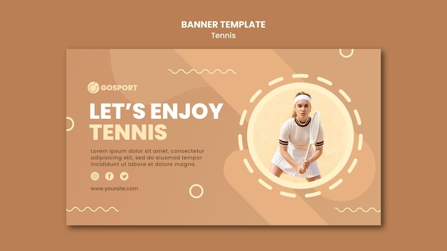 Modelo de banner horizontal para jogar tênis