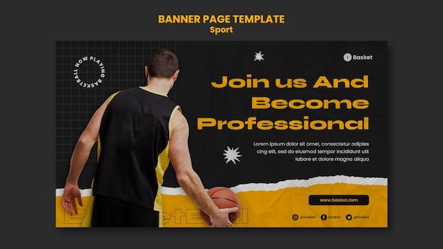 Modelo de banner horizontal para jogo de basquete com jogador masculino