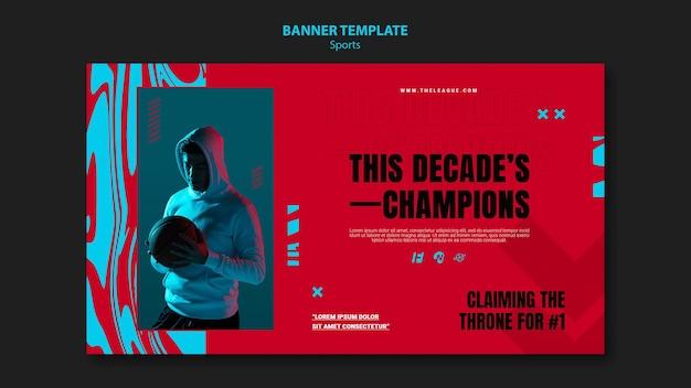 Modelo de banner horizontal para jogo de basquete
