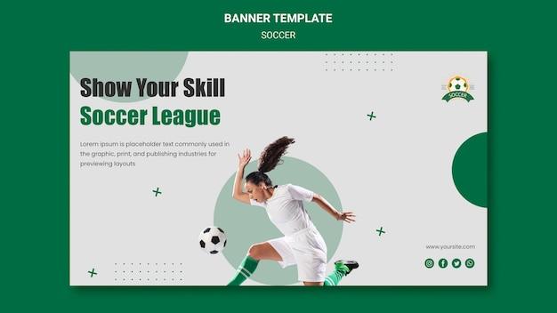 Modelo de banner horizontal para liga de futebol feminino