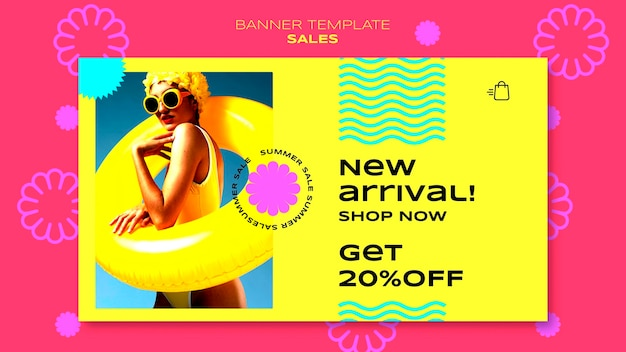 Modelo de banner horizontal para liquidação de temporada de verão