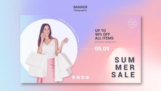 Modelo de banner horizontal para liquidação de verão