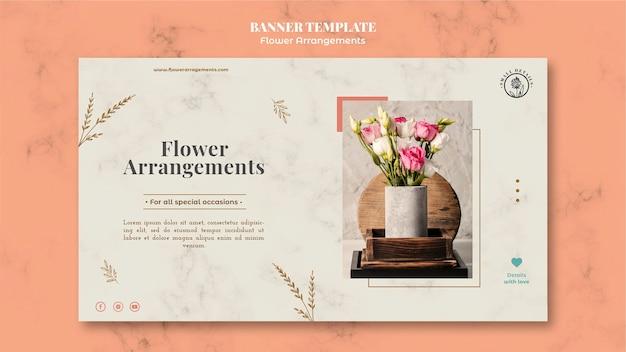 Modelo de banner horizontal para loja de arranjos florais