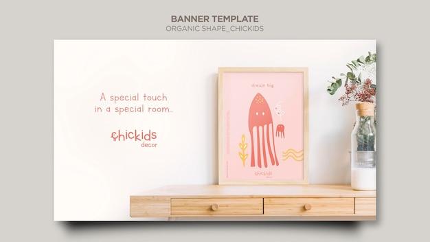 Modelo de banner horizontal para loja de decoração de interiores infantil