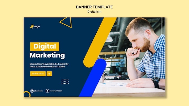 Modelo de banner horizontal para marketing digital