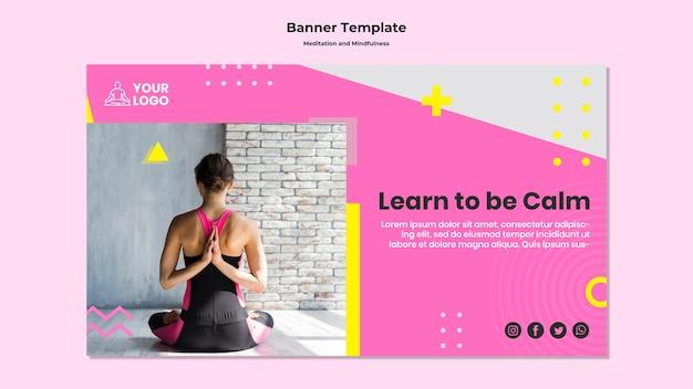 Modelo de banner horizontal para meditação e atenção plena