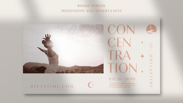 Modelo de banner horizontal para meditação