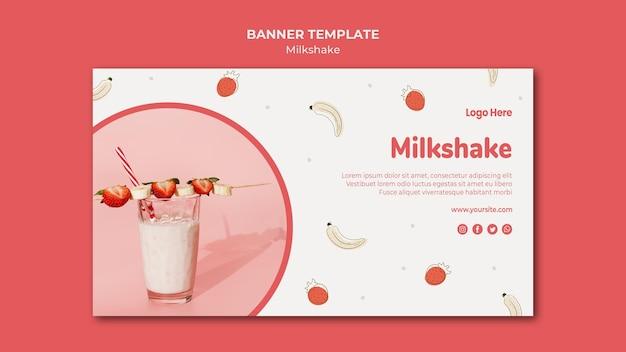 Modelo de banner horizontal para milkshake de morango