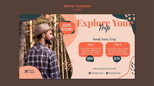 Modelo de banner horizontal para mochila viajando com homem