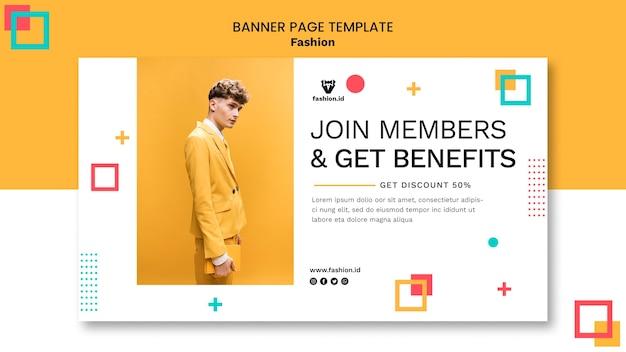 Modelo de banner horizontal para moda com modelo masculino