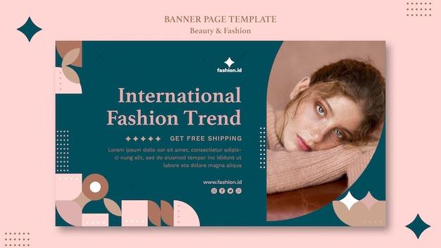 Modelo de banner horizontal para moda e beleza feminina