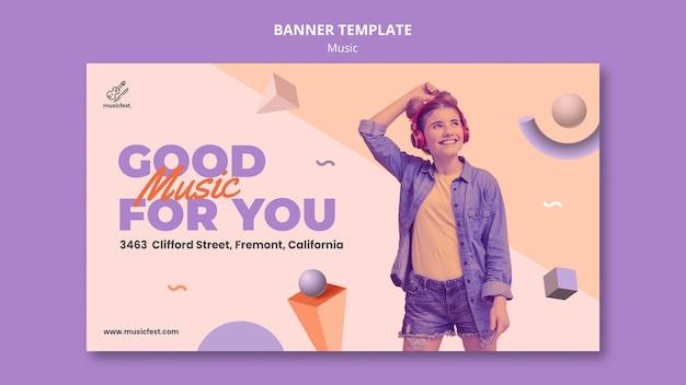 Modelo de banner horizontal para música com mulher usando fones de ouvido e dançando