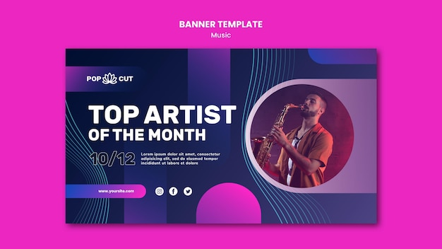 Modelo de banner horizontal para música com músico de jazz masculino e saxofone
