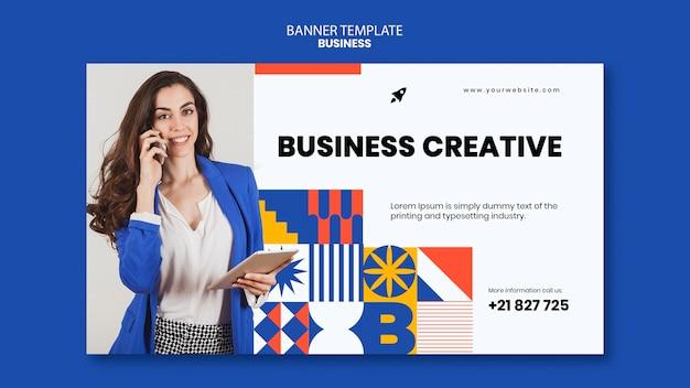 Modelo de banner horizontal para negócios com mulher elegante