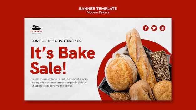 Modelo de banner horizontal para negócios de cozimento de pão