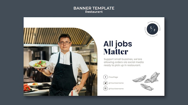 Modelo de banner horizontal para negócios em restaurantes