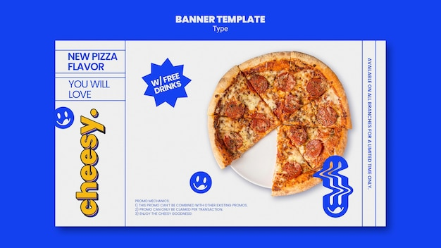 Modelo de banner horizontal para novo sabor de pizza de queijo