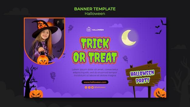 Modelo de banner horizontal para o dia das bruxas com criança fantasiada