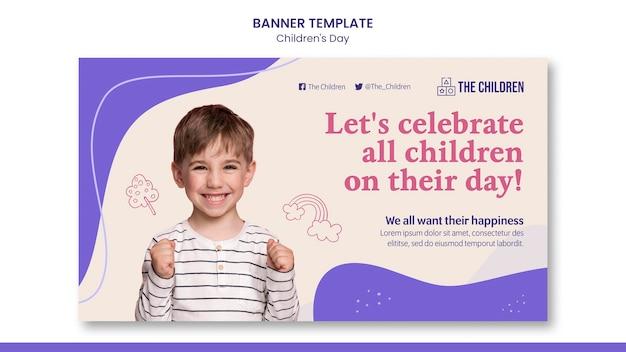 Modelo de banner horizontal para o dia das crianças fofas