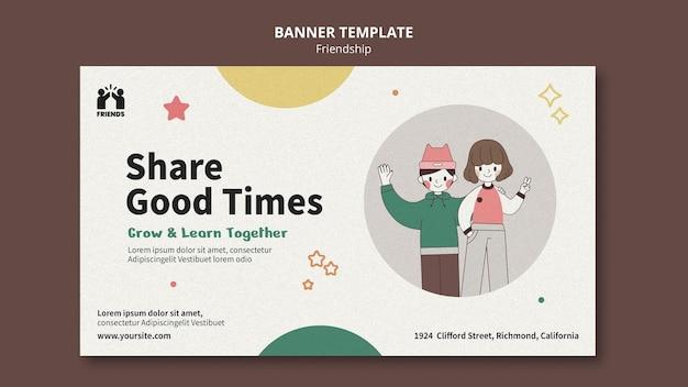 Modelo de banner horizontal para o dia internacional da amizade com amigos