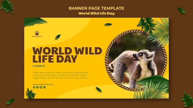 Modelo de banner horizontal para o dia mundial da vida selvagem com animais