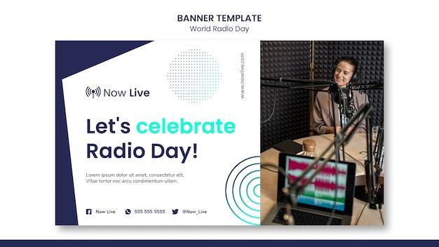 Modelo de banner horizontal para o dia mundial do rádio