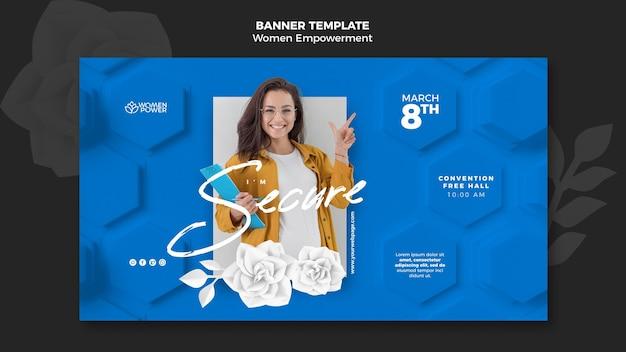 Modelo de banner horizontal para o empoderamento das mulheres com palavras de incentivo
