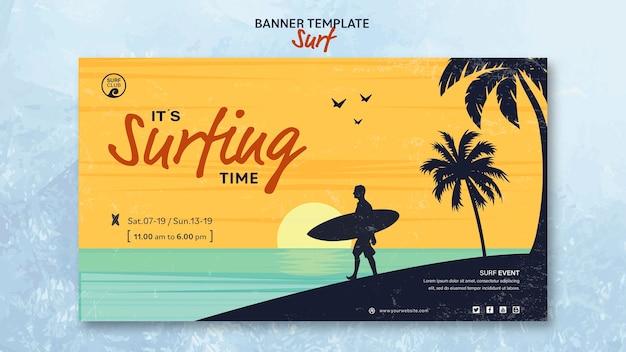Modelo de banner horizontal para o tempo de surf