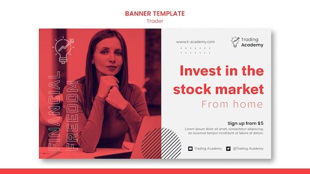 Modelo de banner horizontal para ocupação de trader de investimento