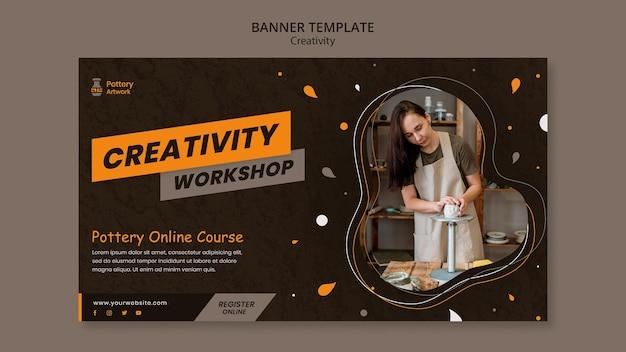 Modelo de banner horizontal para oficina de cerâmica