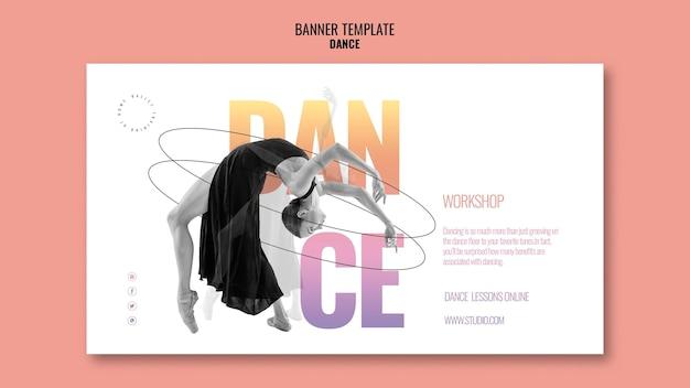 Modelo de banner horizontal para oficina de dança