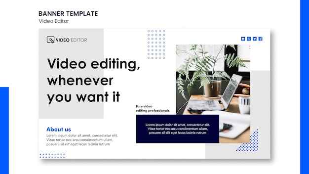 Modelo de banner horizontal para oficina de edição de vídeo