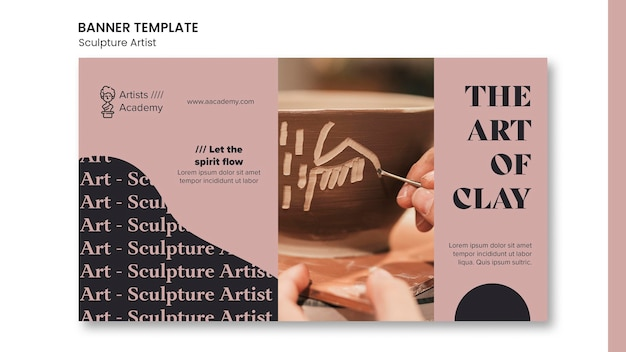 Modelo de banner horizontal para oficina de escultura