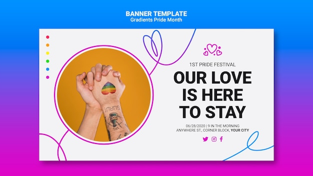 Modelo de banner horizontal para orgulho lgbt