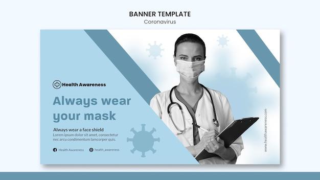 Modelo de banner horizontal para pandemia de coronavírus